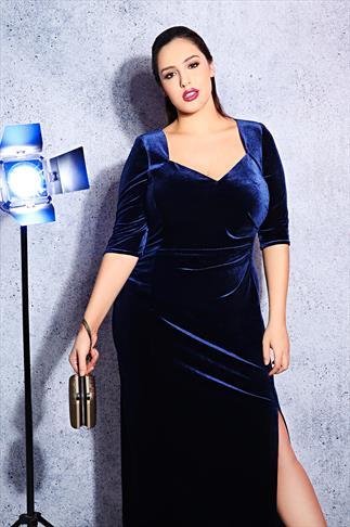 SCARLETT & JO Midnight Blue Velvet Maxi Dress