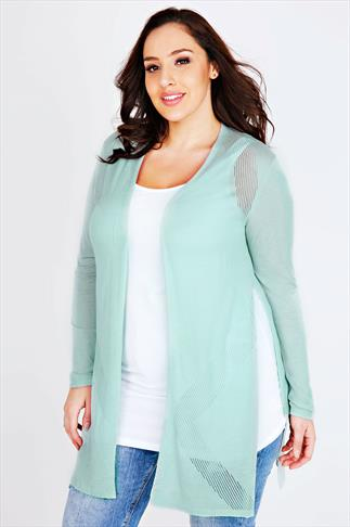 Pastel Mint Green Longline Cardigan With Pointelle Detail