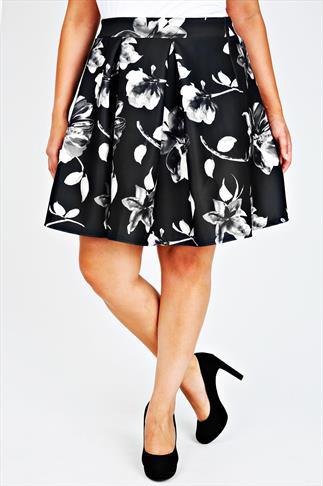 Black & Grey Floral Print Skater Skirt