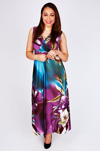 Purple & Blue Tropical Lily Print Wrap Front Maxi Dress