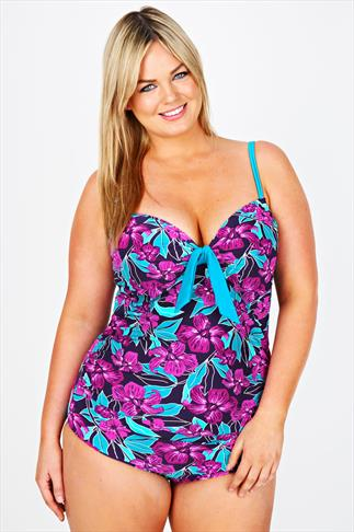 Purple Floral Print Swimsuit With TUMMY CONTROL