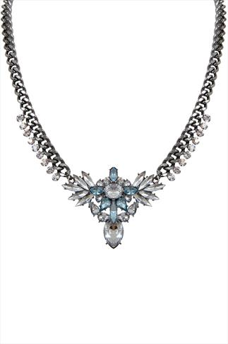 Silver & Blue Jewelled Statement Necklace