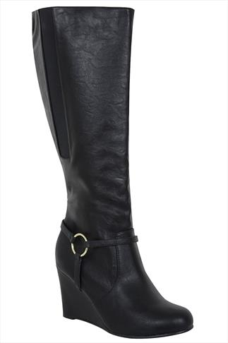 Black Knee High Wedged Boots With Gold Buckle In EEE Fit