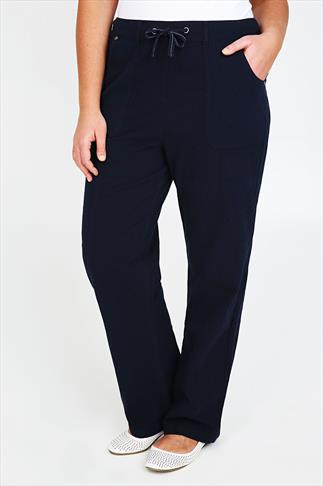 Navy Full Length Cool Cotton Trousers