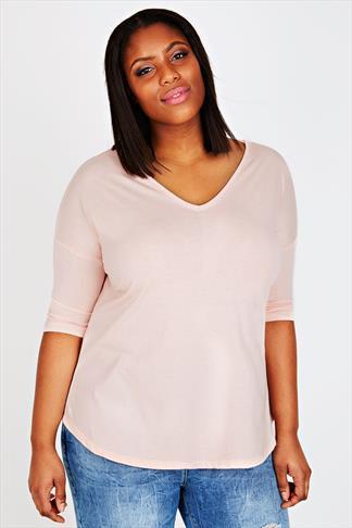 Pink 3/4 Sleeved Drop Shoulder Sleeved T-shirt
