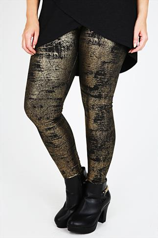 Black & Gold Foil Print Leggings