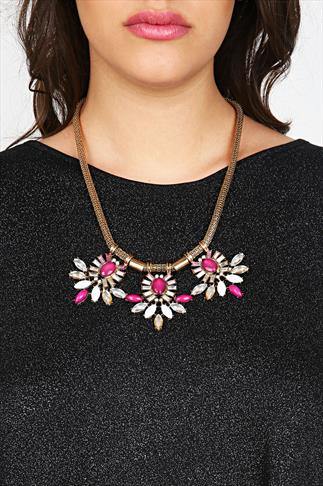 Bright Pink & White 3 Point Statement Gold Chain Necklace