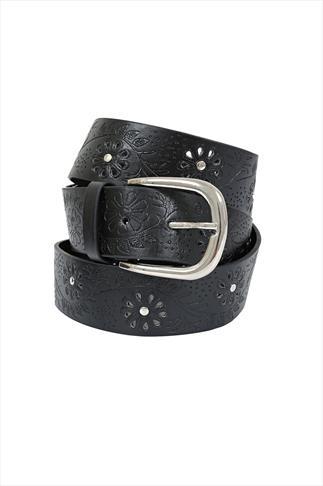 Black Floral Embossed Jean Belt