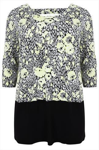 Lime And Black Floral Top With Back Cut Out Detail