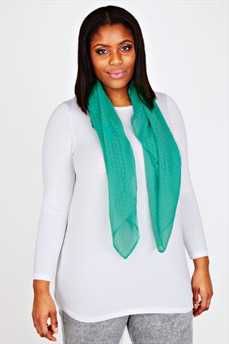 Turquoise Sheer Dotty Scarf