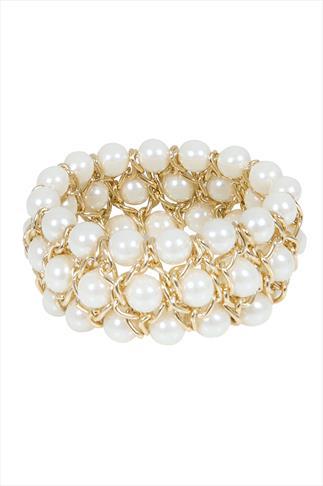 Gold & White Pearl Bead Stretch Bracelet
