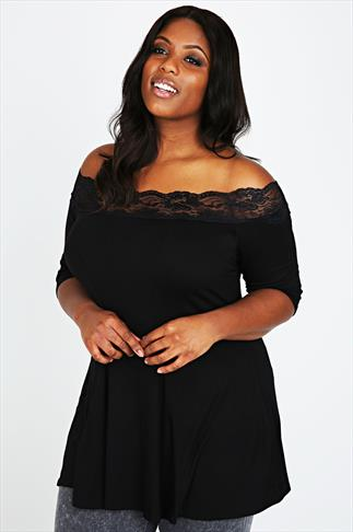 Black Bardot Top With Lace Trim