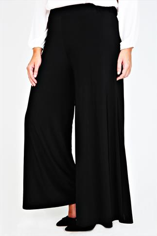 Black Wide Leg Pull On Palazzo Trousers