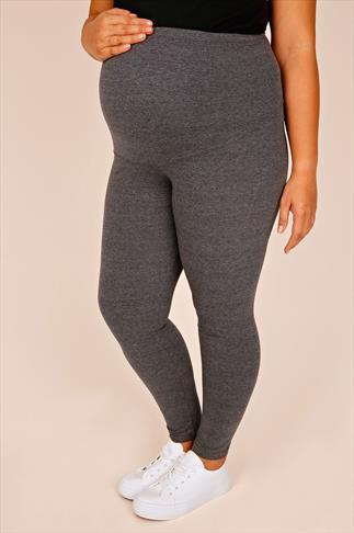 BUMP IT UP MATERNITY Charcoal Cotton Elastane Leggings With Comfort Panel