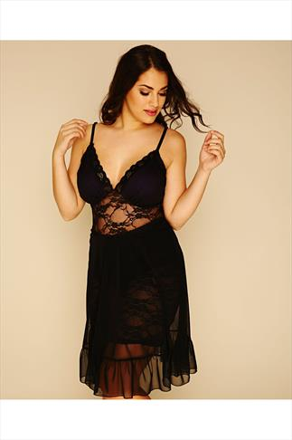 Black & Purple Lace Babydoll
