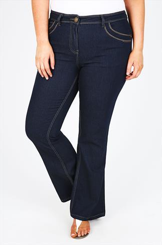 Indigo Bootcut Jeans With Stitch Detail - PETITE