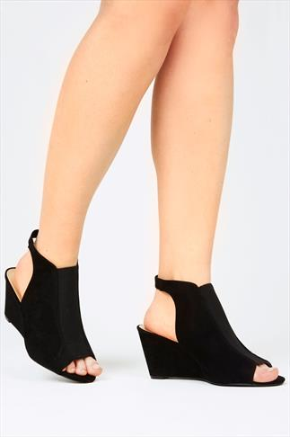 Black Suedette Backless Wedge Shoes In EEE Fit