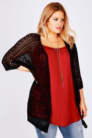 Black Crochet Lace Short Sleeved Cardigan