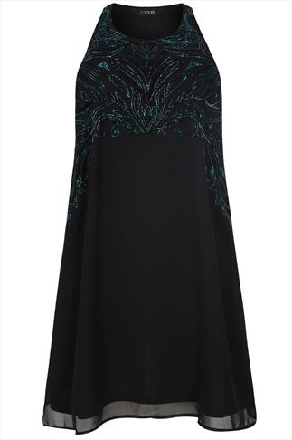 Black Sleeveless Swing Dress With Teal Beading Embellishment