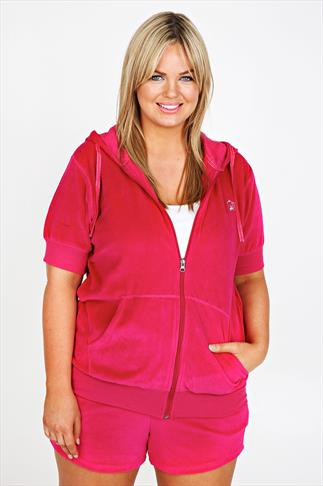 Hot Pink Zip Up Short Sleeved Velour Hoody With Crown Detail