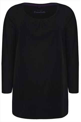 Black Long Sleeved Tee With Scooped Neck