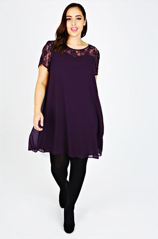 Purple Chiffon Swing Dress With Contrast Sheer Lace Top Panel