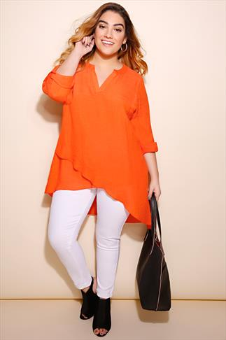 Orange Notch Neck Silky Layer Blouse
