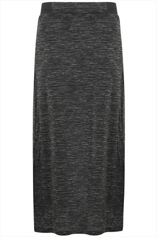 Khaki & Black Space Dye Print Elasticated Waist Maxi Skirt