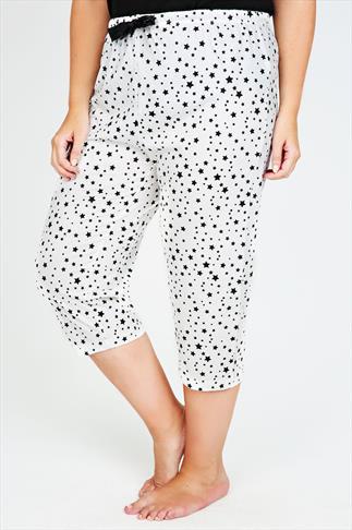 White & Black Star Print Full Length Pyjama Crops