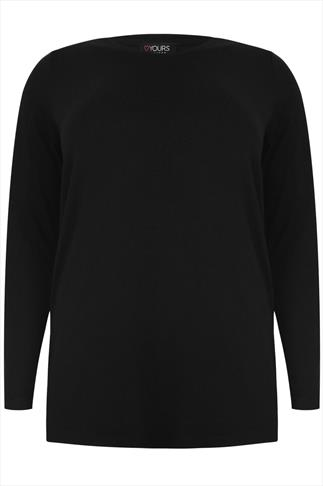 Black Long Sleeve Soft Jersey Basic Top