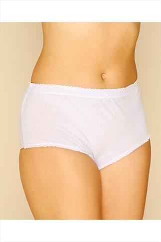 White 5 Pair Pack Cotton Full Brief