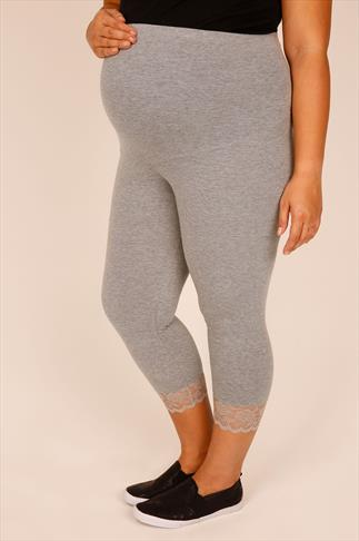 BUMP IT UP MATERNITY Grey Cropped Leggings With Lace Panel