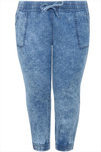 Light Blue Acid Wash Crop Jeans With Cuffs