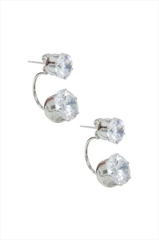 Silver Crystal Half Loop Earrings