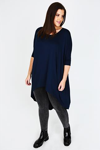 Navy Oversized Top With Extreme Dipped Hem