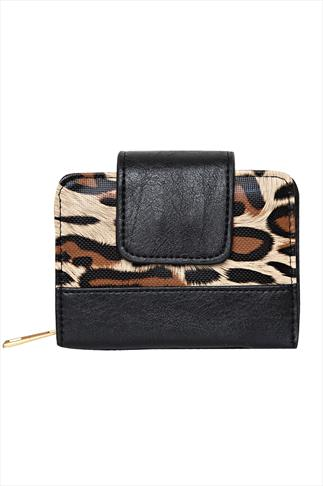 Black And Animal Print Purse With Tab Fastening