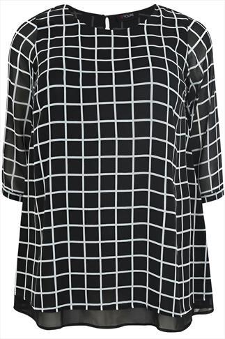 Black & White Check Print Double Layer Blouse