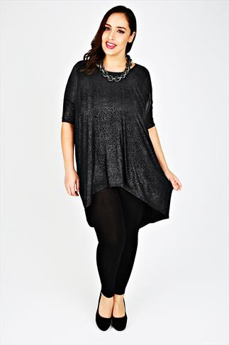 Black & Silver Glitter Oversized Top With Extreme Dipped Hem