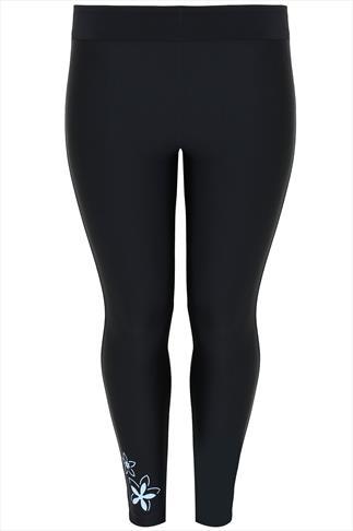 Black Swim Leggings With Floral Print
