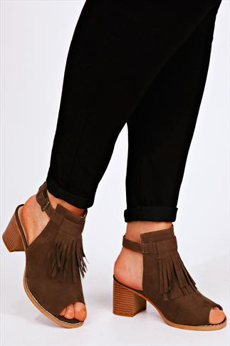 Tan Slingback Sandals With Tassel Front Detail