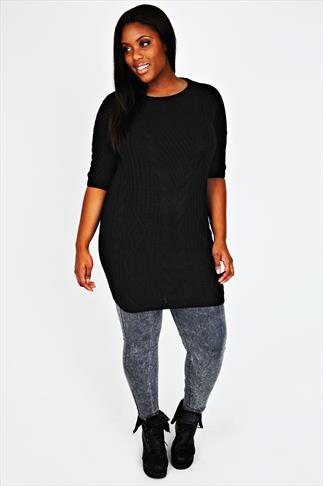 Black Cable Knit Tunic Dress With Half Sleeves