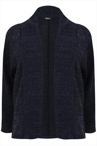 Navy & Silver Thread Detail Knitted Cardigan