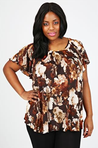 Brown All Over Rose Print Longline Top With Frilled Edges
