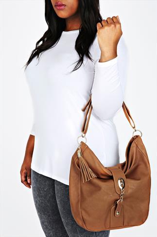 Tan Slouch Handbag With Gold Lock & Tassel Details