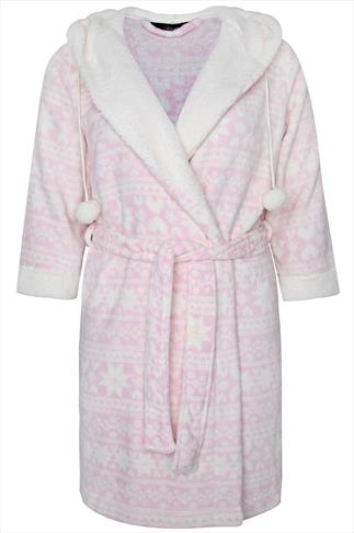 Pink And Cream Fluffy Fairisle Print Dressing Gown With Hood