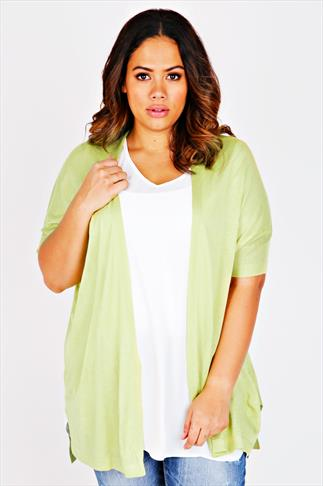 Lime Longline Cardigan With Batwing Sleeves