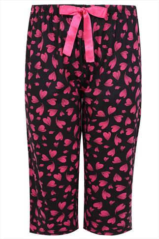 Black & Pink Heart Print Cropped Pyjama Bottoms