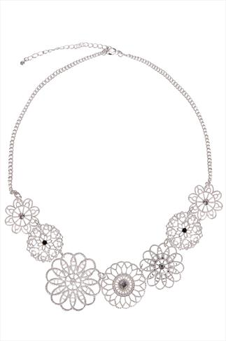 Silver Floral Necklace With Pearl Beads