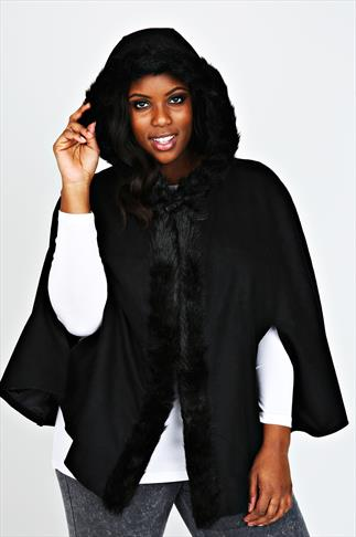Black Cape With Fur Trim Hood
