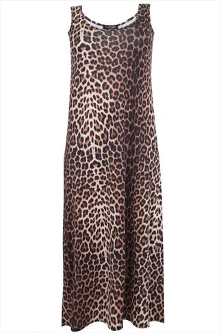 Leopard Print Sleeveless Maxi Dress